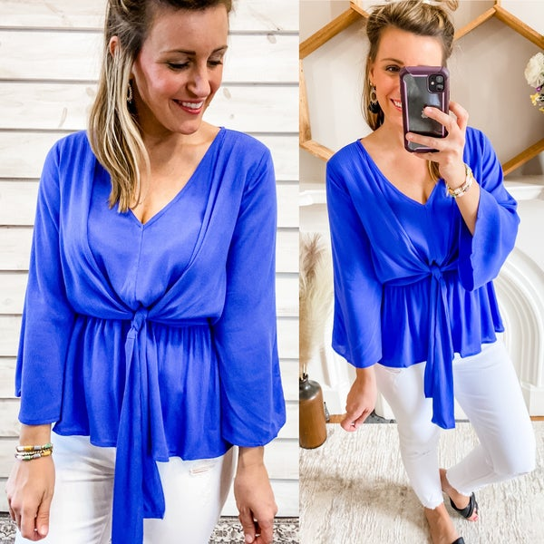 Blue Tie Front Top with Elastic Waist
