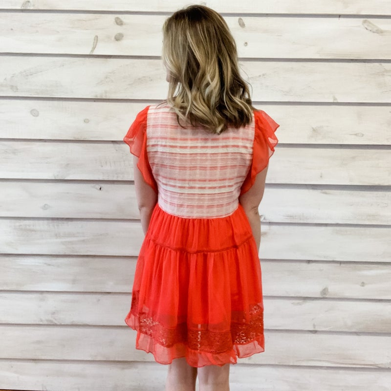 Red Chiffon Lace Contrast Dress