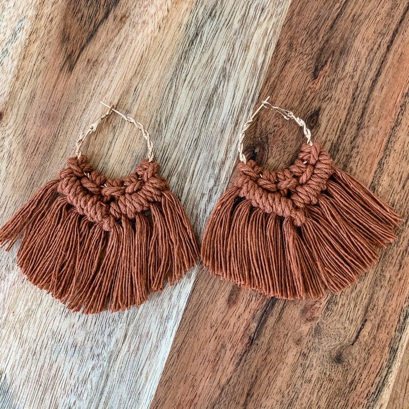 Rust Boho Macrame Earrings