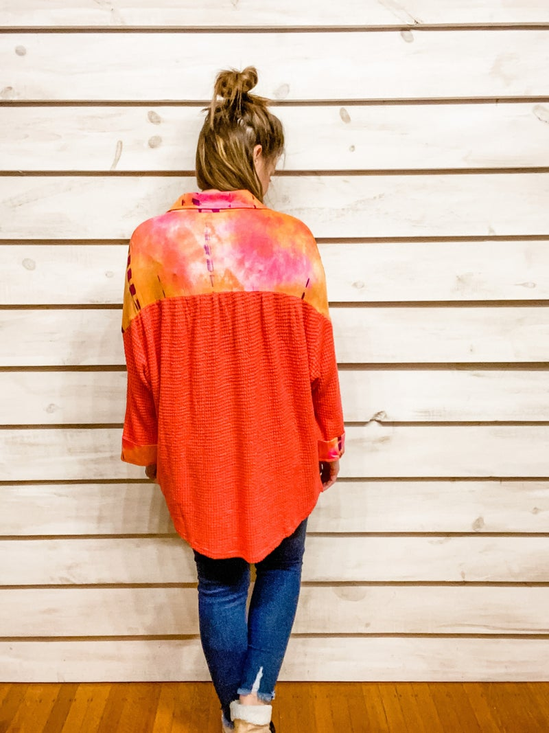 Grapefruit Waffle Top with Tie Dye Details