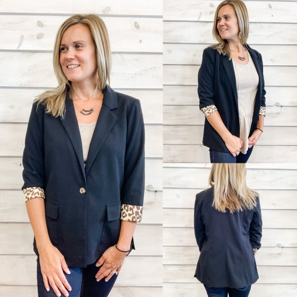 Black Blazer with Fun Pop of Animal Print
