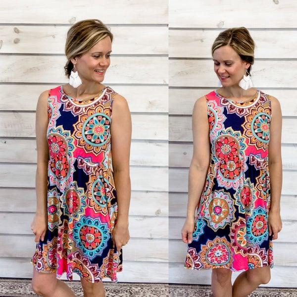 Multicolor Floral Print Sun Dress