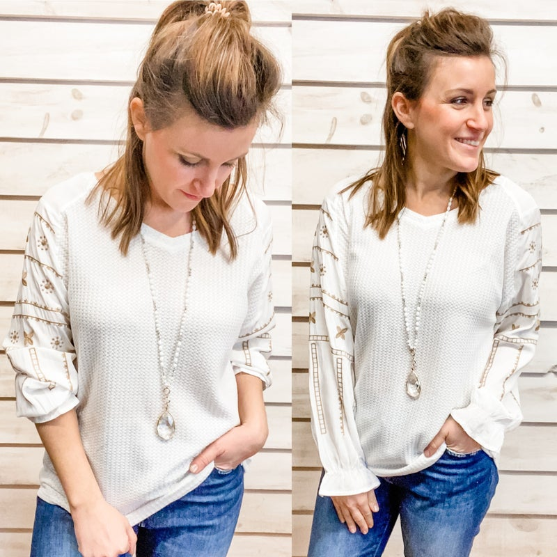Ivory Super Soft Waffle Knit with Print Sleeve
