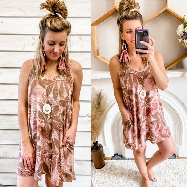 Mauve Printed Slip Dress