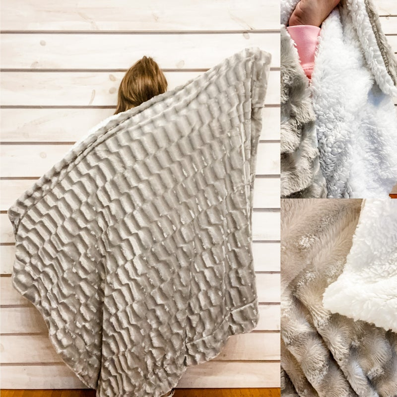 Super Soft Grey Blanket with Sherpa Lining