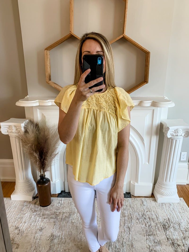 Yellow Butterfly Sleeve Smocked Top