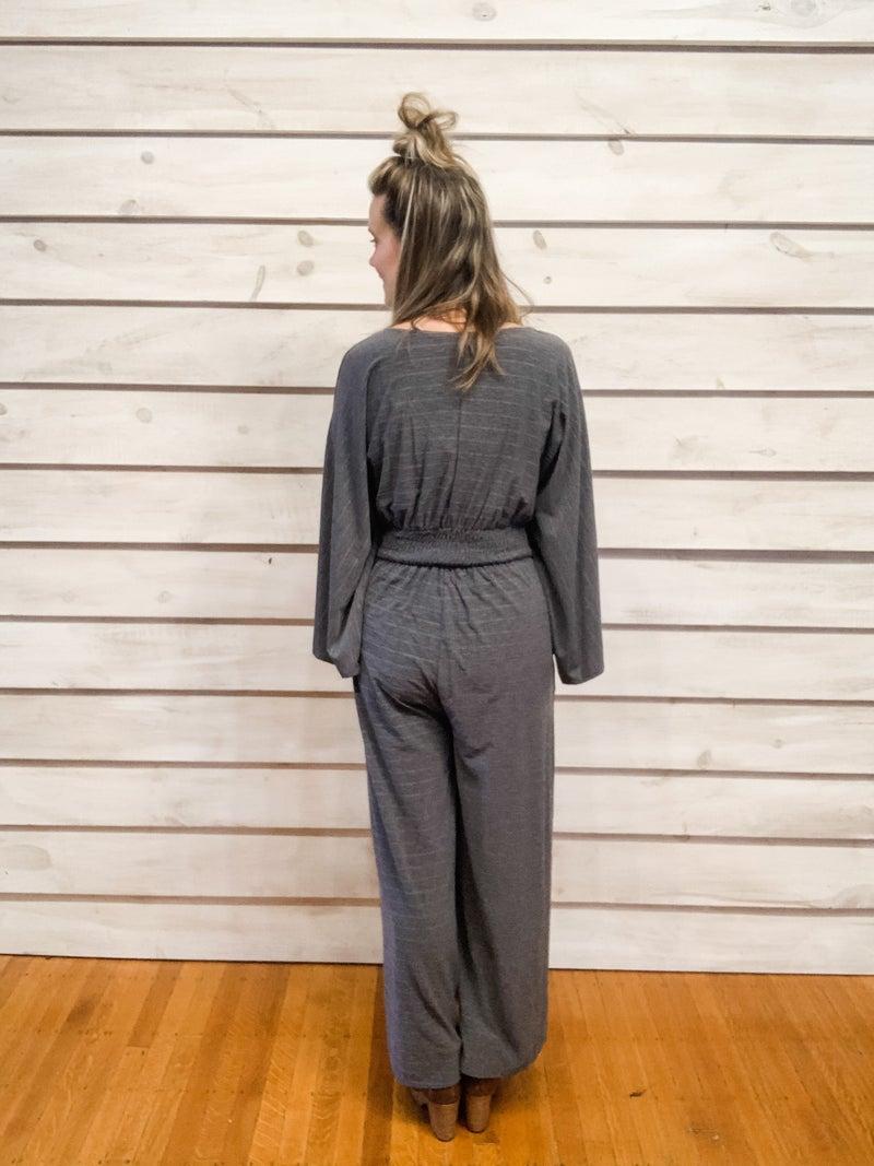Charcoal Print Soft Print Jumpsuit