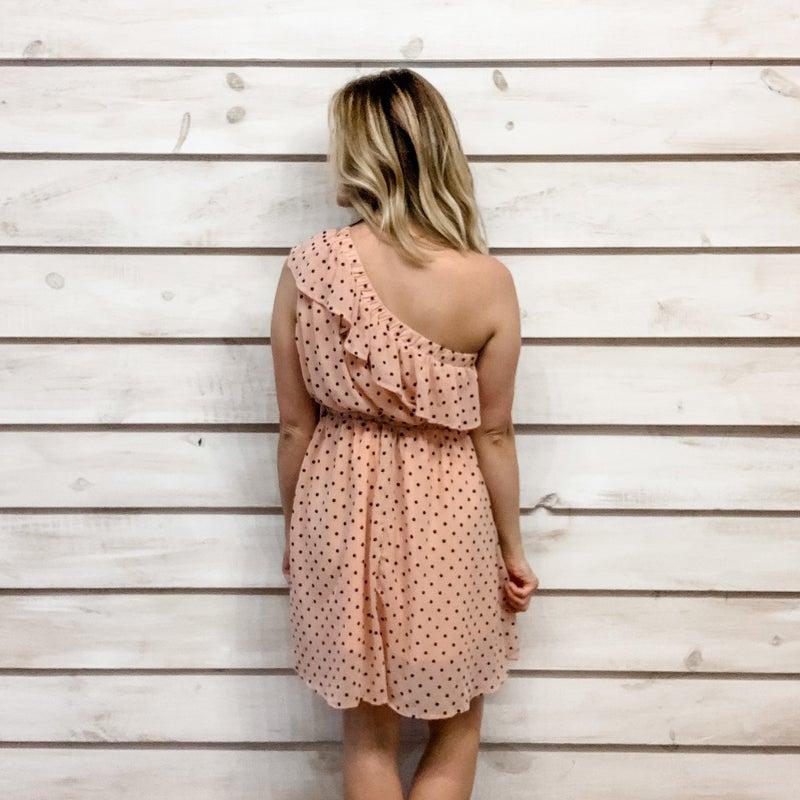 Polka Dot One Shoulder Ruffle Dress