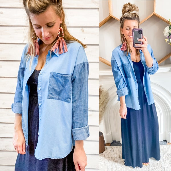 Denim Button Up with Contrasting Pockets