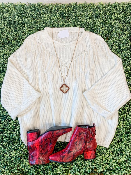 White Fringe Detail Sweater *Final Sale*