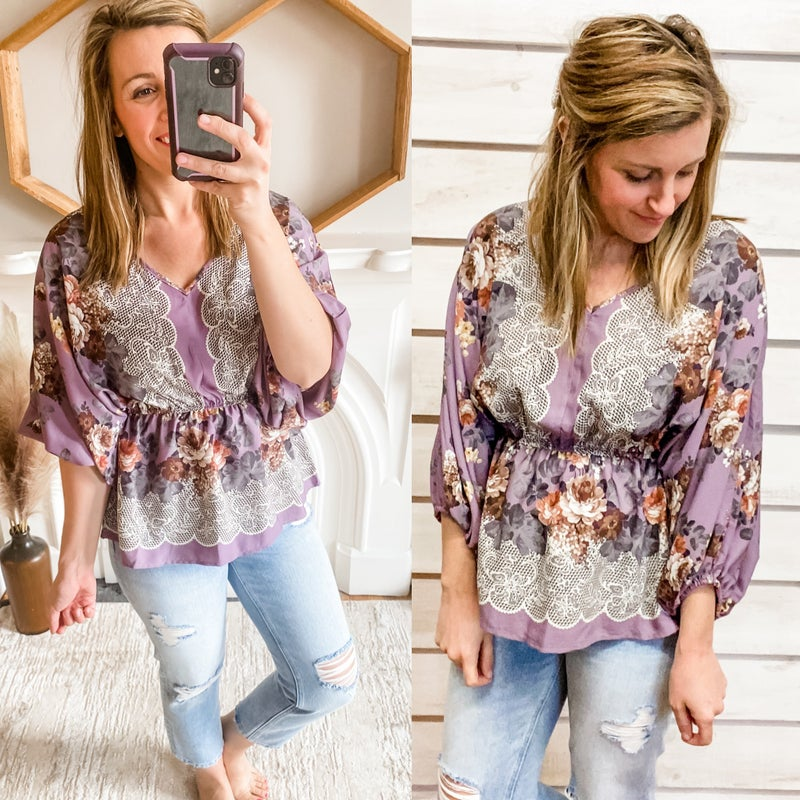 Dusty Lilac Floral Boho Top