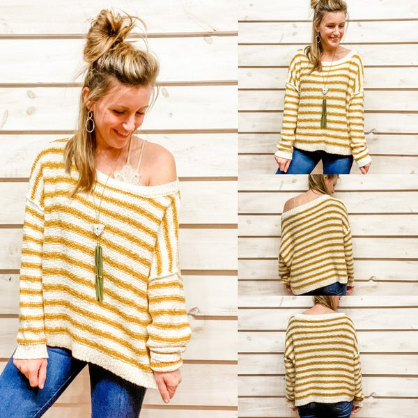 Super CozyCream and Mustard Knit Sweater *Final Sale*