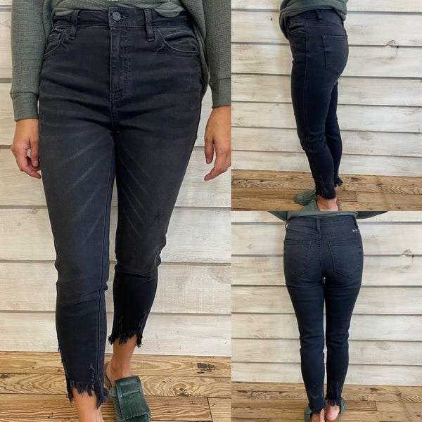 Lightly Distressed High Rise Black Jeans with Frayed Hem