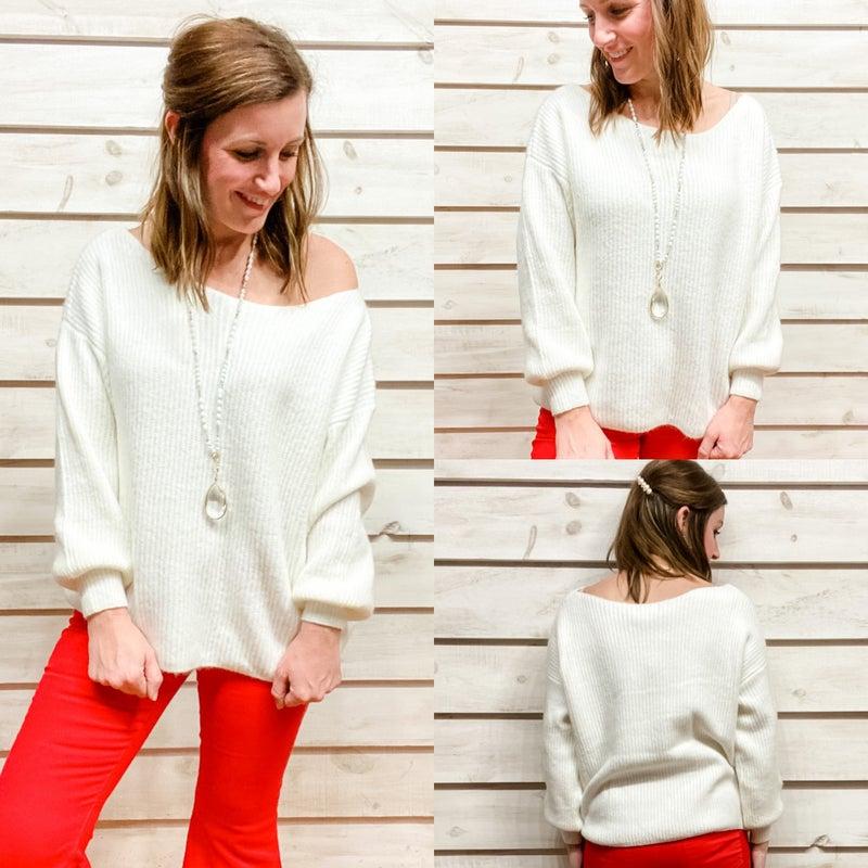 Cream Ribbed Texture Sweater