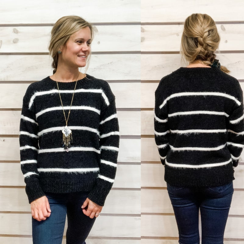 Black and White Fuzzy Striped Sweater
