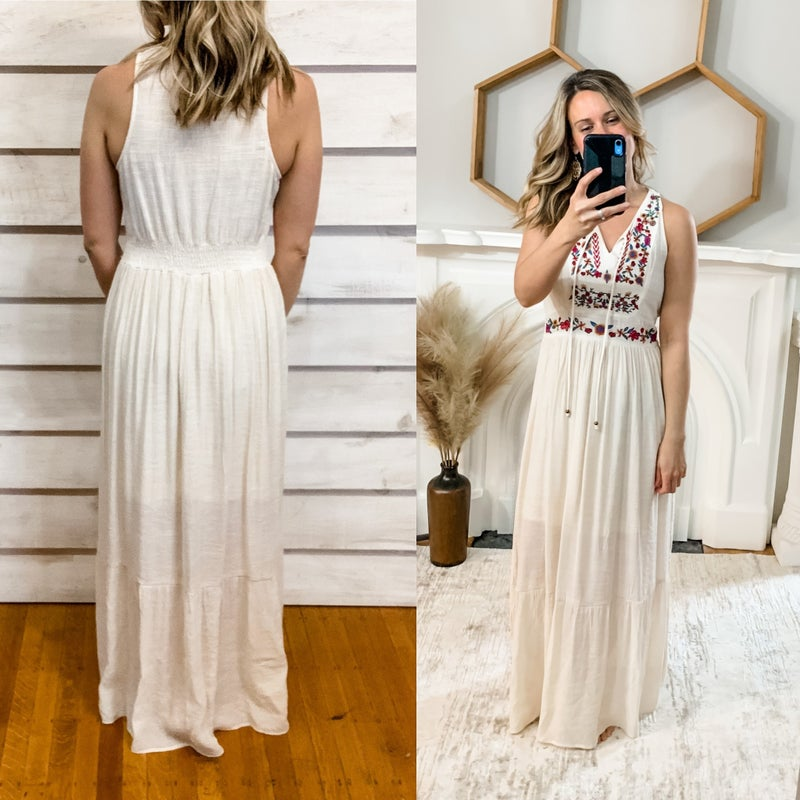 Boho Embroidered Tiered Maxi
