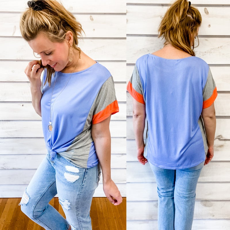 Soft Blue Tee with Color Block Sleeves