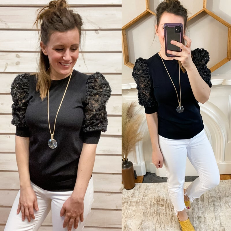 Black Top with Puff Floral Sleeves