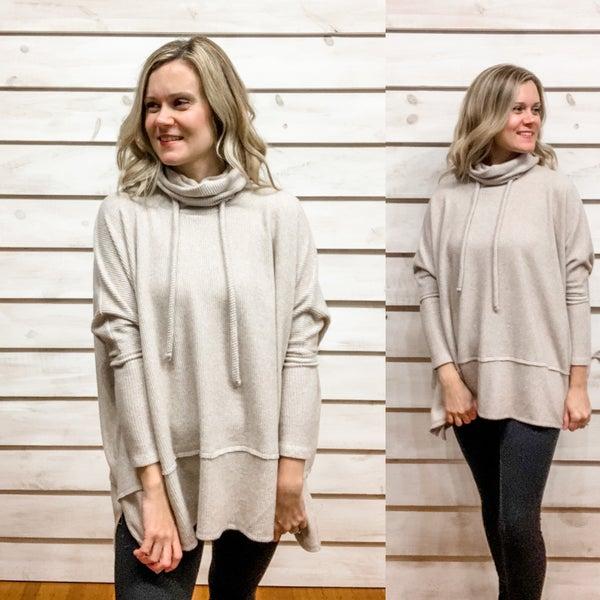 Taupe Super Soft Oversized Tunic Sweater