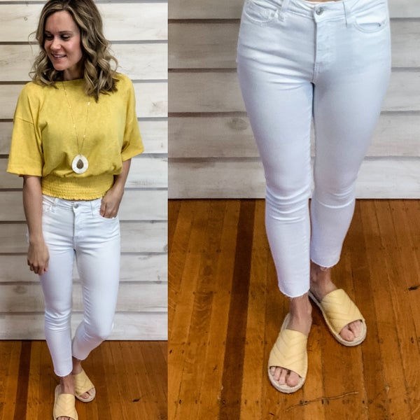 White Mid Rise Skinny Jean
