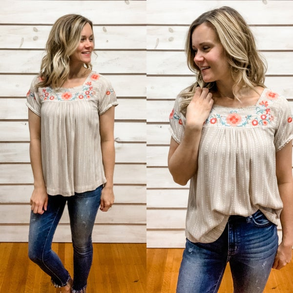Taupe Print Floral Top
