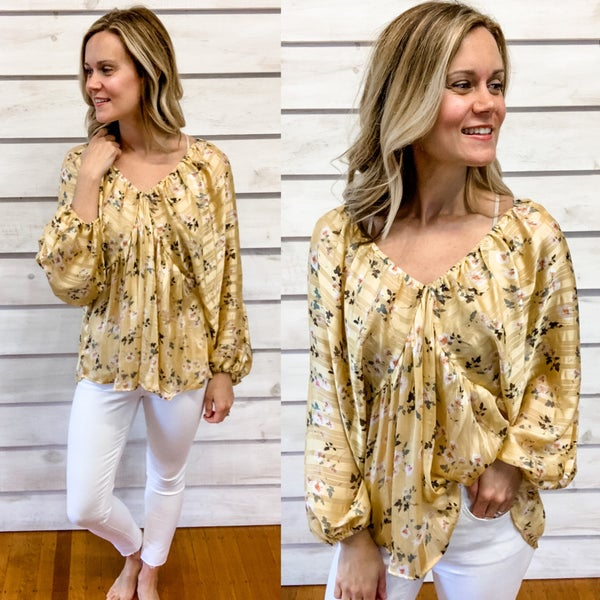 Gold Floral Chiffon Tie Back Top