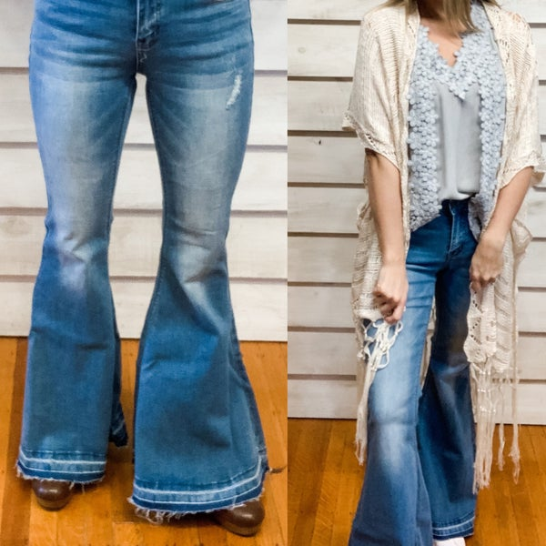 Mid Rise Frayed Bell Bottoms