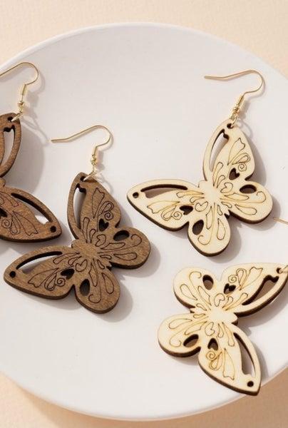 Butterfly Wooden Earring