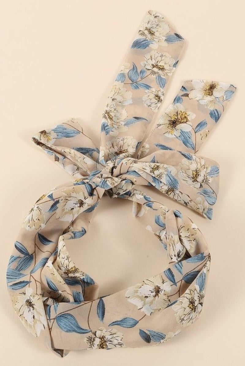 Twisted Floral Head Scarf (4 colors)