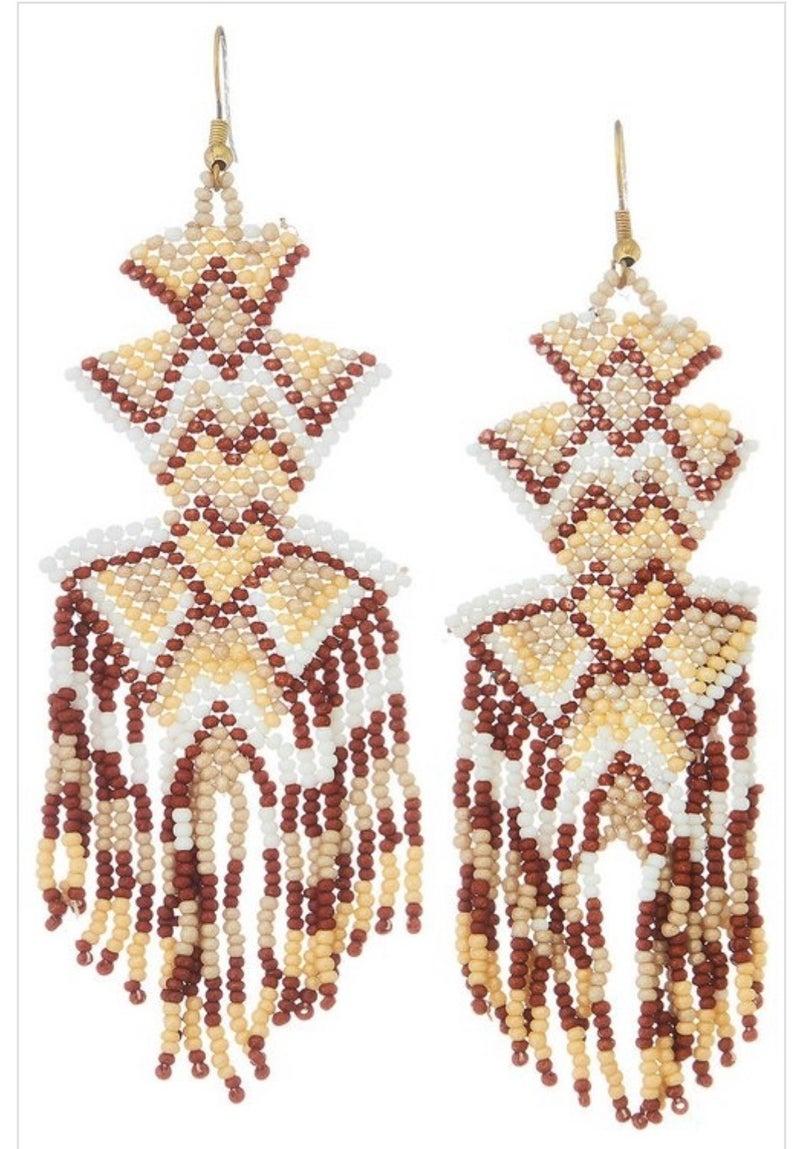 Aztec Beaded Tassel Earring