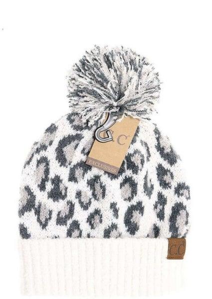Snow Leopard C.C. Pom Pom Beanie *Final Sale*