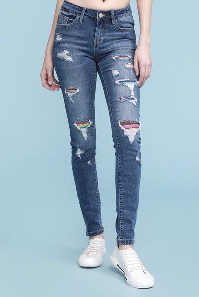Judy Blue Rainbow Distressed Skinny Jeans