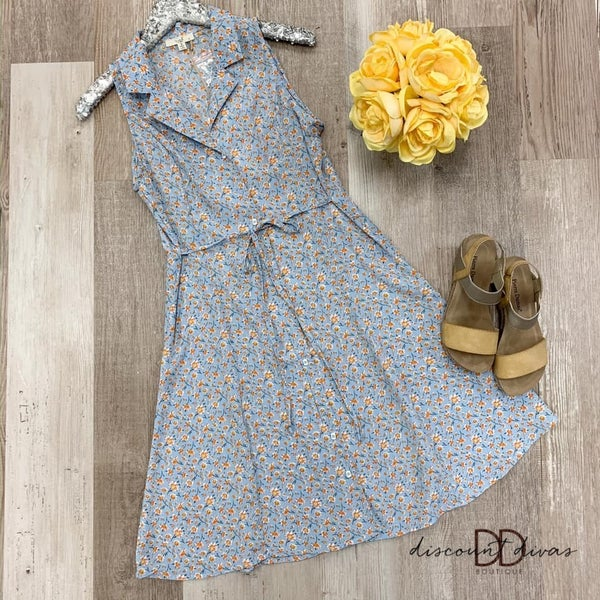 Sleeveless Floral Dress With Front Button Detail *Final Sale*