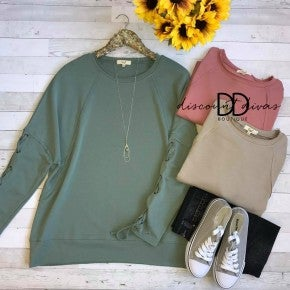 Laced up long sleeve sweatshirt