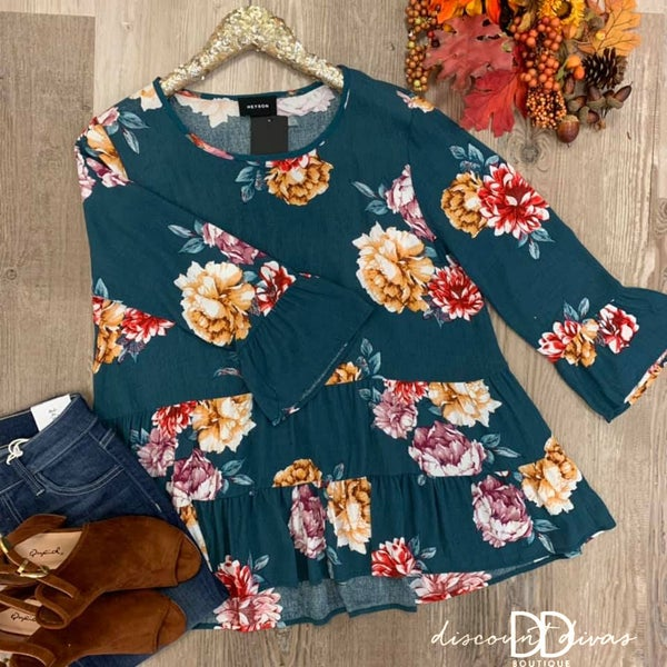 Floral Print Ruffle Top *Final Sale*