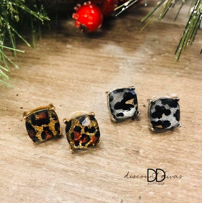 Leopard Print Stud Earrings
