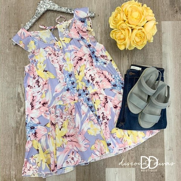 Ruffled Sleeve Floral Print Tunic