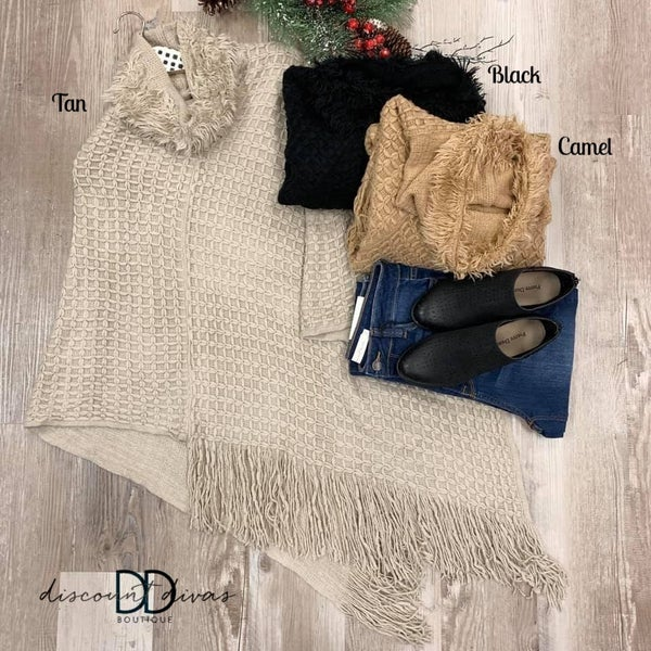 Mock Neck Poncho With Fringe Detail