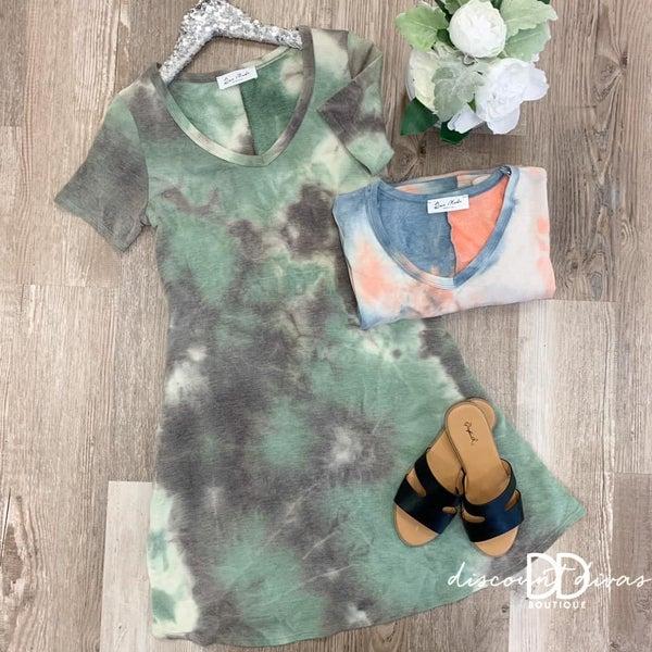 Tie-Dye Swing Dress with Pockets