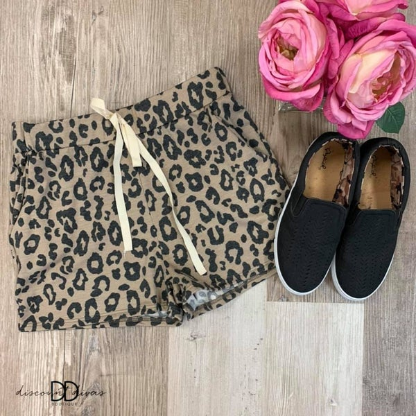 Callin' In Cozy Leopard Shorts