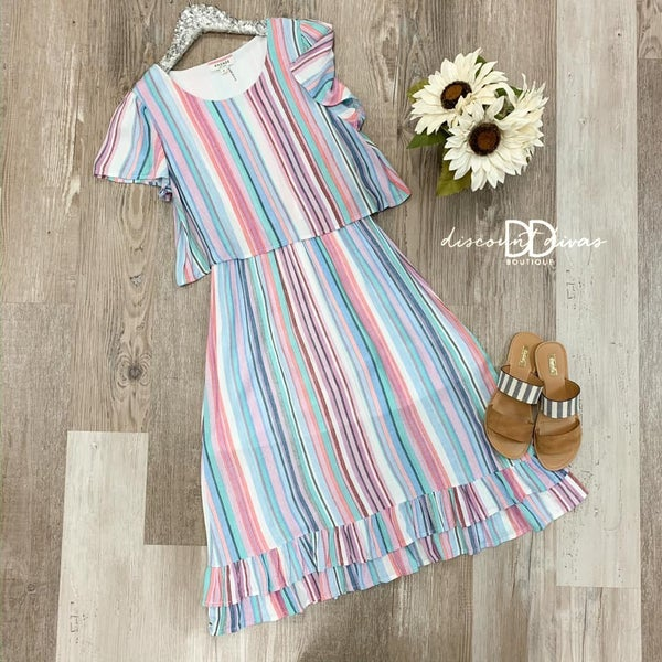 Short Sleeve Round Neck Striped Dress