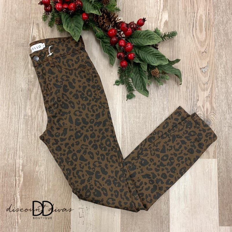 High Rise Animal Print Cropped Skinny Jeans