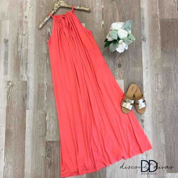 Halter Maxi Dress With Back Tie Detail