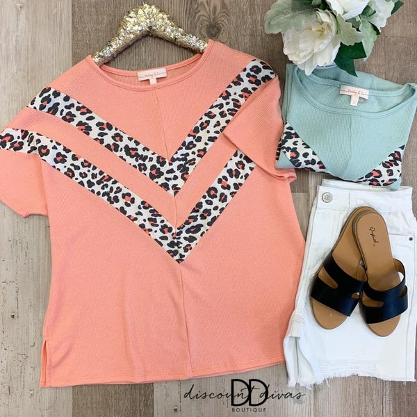 Short Sleeve Waffle Knit Top With Animal Print Detail