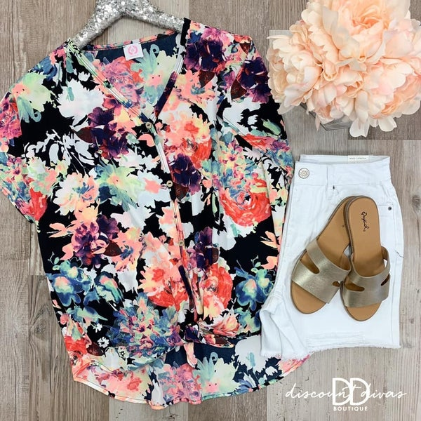 Floral Print Top With Front Knot Detail