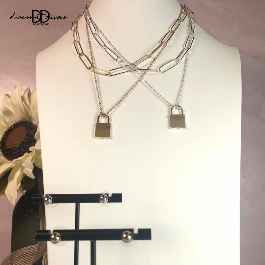 """Matte Chain with Locket Charm Layered 16""""-18"""" Necklace and Earring Set"""
