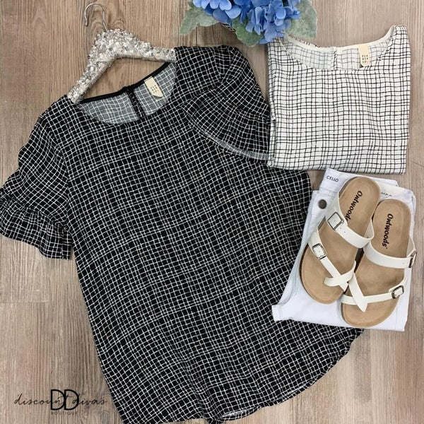 Short Sleeve Checkered Top With Ruffle Detail
