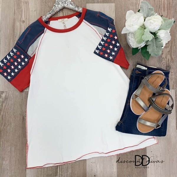 American Themed Sleeve Knit Top