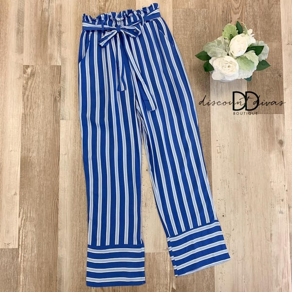 Stripe Pants with Elastic Waist