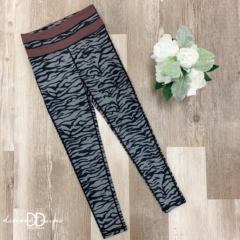 High Waisted Tiger Leggings With Striped Band Detail